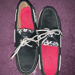 Sperry navy and cheetah print boat shoes!